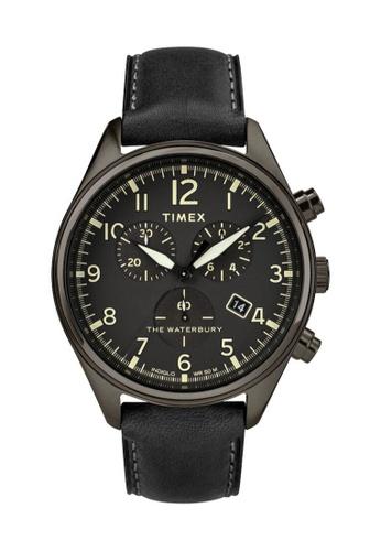 TIMEX black Timex Waterbury Traditional Chrono 42mm - Black Case & Strap (TW2R88400) 01BDAAC7F4C4A0GS_1