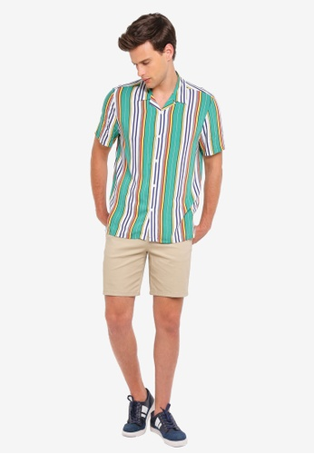 6cb7eeca Buy Topman Green Afro Stripe Revere Shirt   ZALORA HK