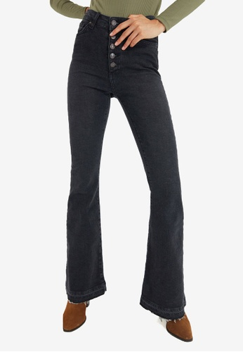Trendyol black Front Button High Waist Flare Jeans FB65AAAEC53056GS_1