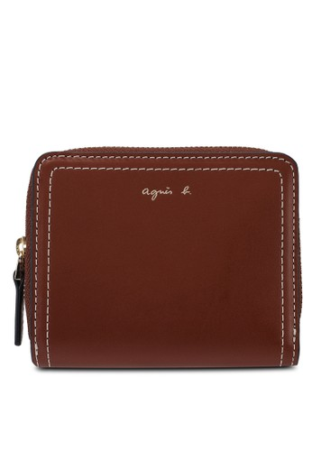 agnès b. brown Voyage Zip Around Wallet A250AACED52CE5GS_1
