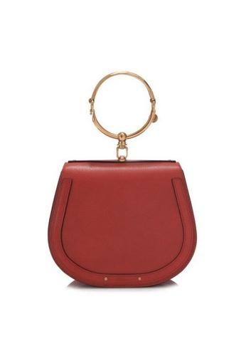 Chloé red Chloe Medium Nile Bracelet In Smooth & Suede Calfskin Crossbody Bag in Earthy Red F9A22AC8667D88GS_1