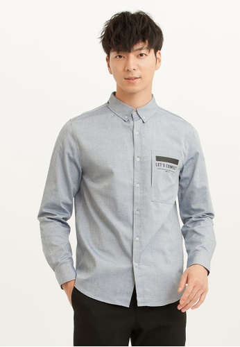 H:CONNECT blue Side Open Pocket Shirt CE21AAADD899F1GS_1