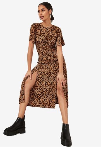 MISSGUIDED brown Flutter Sleeve Midi Dress DA73DAA5CF83A1GS_1