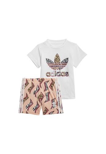 ADIDAS white graphic print shorts & tee set 9E7F3KA6935B59GS_1