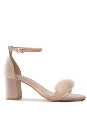 Twenty Eight Shoes Fur Ball Ankle Strap Heel Sandals 5691-30 38FB0SHCCBE400GS_1