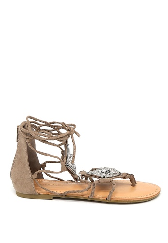 London Rag 米褐色 London Rag女士棕色条带平底凉鞋SH-1176 D130ASH405A3B7GS_1