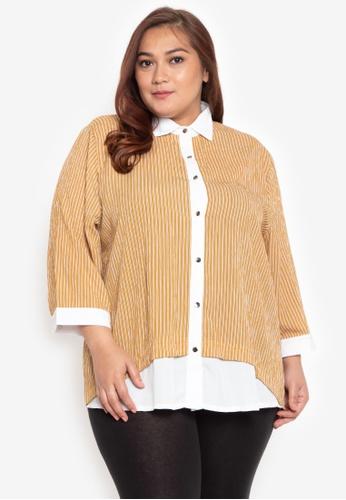 64b16514ca9 Shop Maldita X Plus Size Carlize Color Blocking Buttondown Shirt Online on  ZALORA Philippines