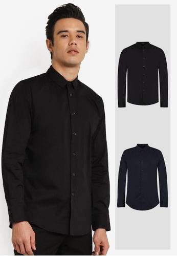 ZALORA black and navy 2 Pack Slim Fit Cotton Poplin Long Sleeve Shirt ZA919AA0FKG0SG_1