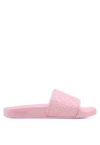 Slydes 粉紅色 潮流壓紋拖鞋 9EC0ESHFBF5611GS_1