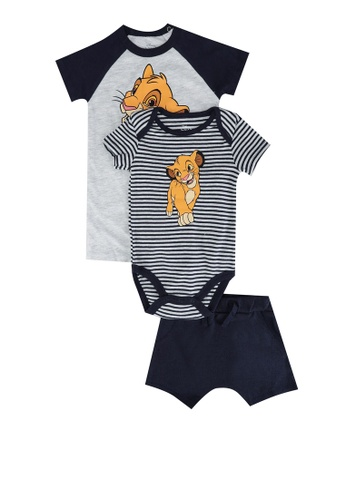 FOX Kids & Baby grey Romper Overall and Knit Shorts 3-Piece Set 909E5KA79D089AGS_1