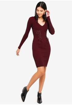 7144ce84c35 30% OFF Guess Glitz Lace-Up Slim-Fit Sweater Dress S  209.00 NOW S  145.90  Sizes XS S M