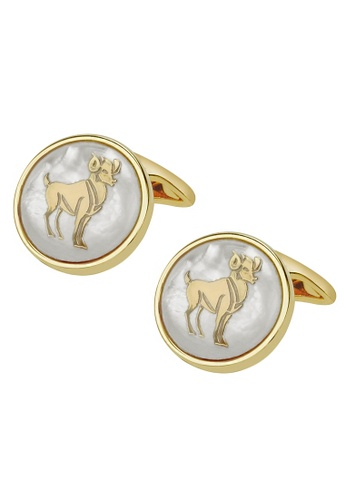 CUFF IT white White Mother of Pearl Aries Gold Cufflinks D0689ACD4D7302GS_1