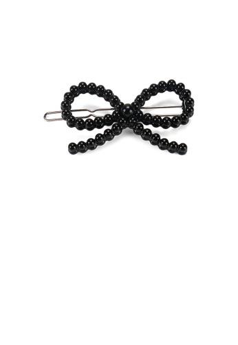 Glamorousky black Fashion Simple Hollow Ribbon Black Imitation Pearl Hair Clip BA3EDAC94E8AA4GS_1