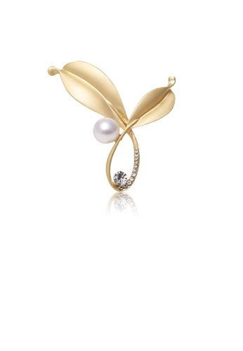 Glamorousky white Simple and Fashion Plated Gold Leaf Imitation Pearl Brooch with Cubic Zirconia BB91FAC84B31F1GS_1