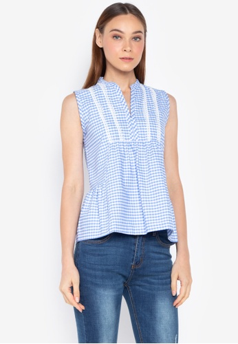 Kamiseta blue Sleeveless Chinese Collared V-Neck Blouse 87A57AAA848786GS 1 bff97d9a1