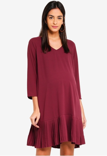 Spring Maternity 紅色 孕婦裝 長袖褶飾滾邊洋裝 3FD2BAA0C9DF4BGS_1