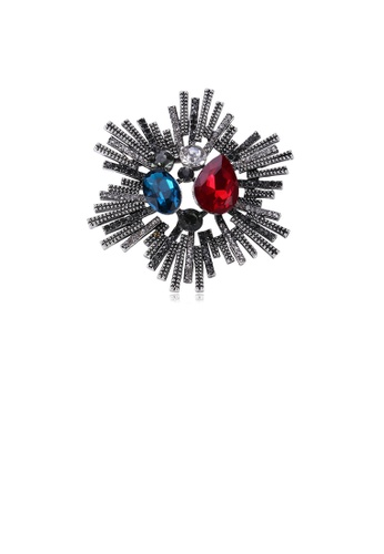 Glamorousky silver Fashion Bright Geometric Flower Brooch with Cubic Zirconia BBA24AC6F6A817GS_1