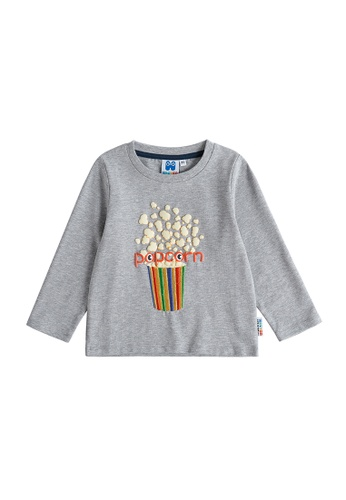 Vauva grey Vauva Hauska Boys Popcorn Long Sleeves Tee - Grey 92925KA53CF8DAGS_1