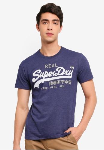 Superdry blue Vintage Label Premium Goods Heat Sealed Tee 0009BAA95751F7GS_1