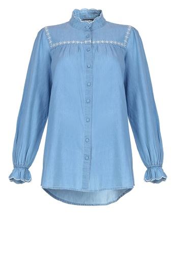 POPLOOK blue Aicha Front Button Blouse DB914AAA7BA78DGS_1