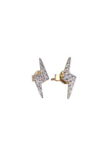 Khoe 黃色 Khoe 18K黃金閃電鑽石耳環 6E13AACD227571GS_1