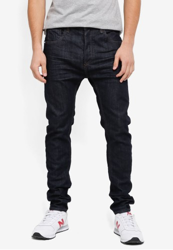CR7 blue Tapered Classic Raw Denim Jeans CR532AA0SYI0MY_1