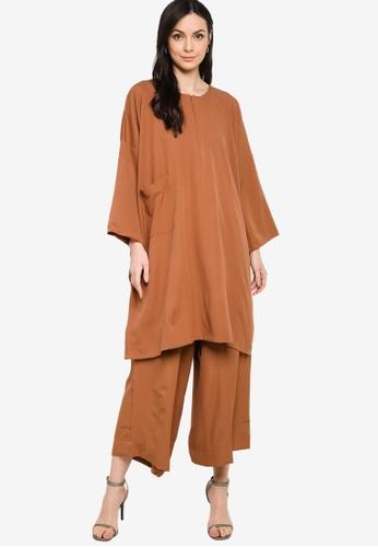 Butik Sireh Pinang brown Mawar Blouse Loose Pocket Suit 9A43DAA760F393GS_1