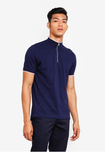 AT TWENTY navy Contrast Piping Mock Neck Tee CAB36AA56E8991GS_1