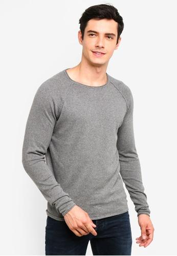 !Solid 灰色 Stamos Mix 絲綢Raglan 針織Sweater F07B4AA2499758GS_1