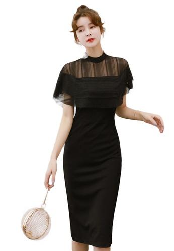 Sunnydaysweety black Korean Sexy See-Through Mesh Slim One Piece Dress A21022253 8A444AA419166BGS_1