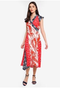 ea0cf0e1371 Dressing Paula red Paneled Floral Print Wrap Dress 436E9AA597EF8FGS 1
