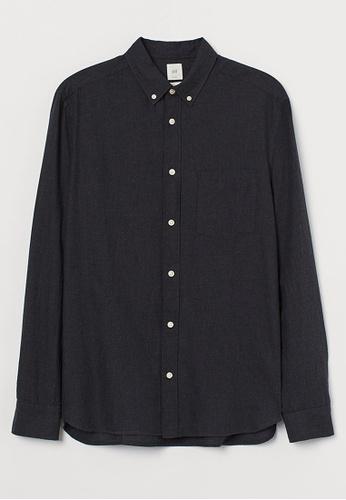 H&M grey Long-Sleeved Shirt FBC3DAAEB8139FGS_1