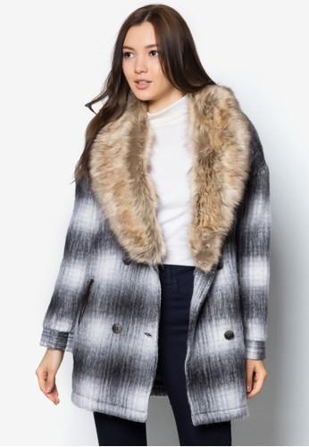 毛領羊毛格紋外套,esprit童裝門市 服飾, 夾克 & 大衣
