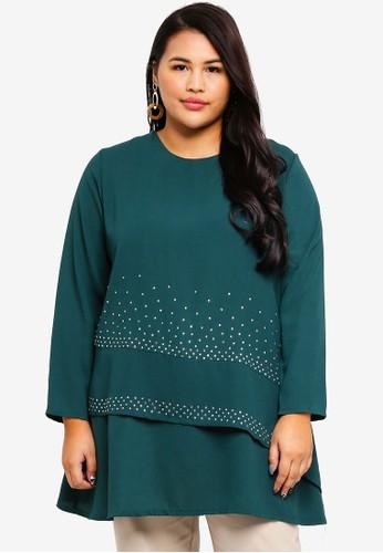 BYN green Plus Size Muslimah Blouse 96B17AA998F186GS_1