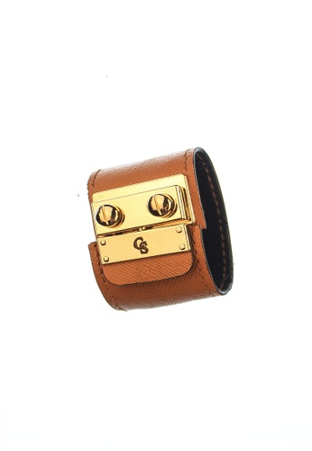 CSHEON yellow and brown SECRET CODE BRACELET CUFF IN BROWN YELLOW SAFFIANO LEATHER A84F9ACB652591GS_1