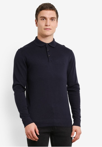 French Connection navy Protrait Wool Long Sleeve Polo Shirt FR878AA0SE5FMY_1