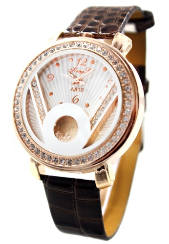 World of Watches brown and gold Hong Li Victoria Leather Stoned Watch A816 WO566AC55JMYPH_1