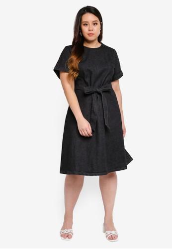 LOST INK PLUS black Plus Size Fit And Flare Denim Dress A11BDAA3F96591GS_1