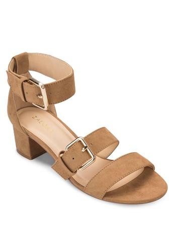 雙帶繞踝粗跟涼鞋、 女鞋、 細帶高跟鞋ZALORA雙帶繞踝粗跟涼鞋最新折價