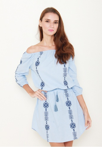 Leline Style blue Isere Embroidery Offshoulder Dress LE802AA82JEVSG_1