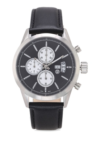 Massa Collections black Nobler Leather Black Silver Sapphire Glass Watch BCE56ACF27C5A0GS_1