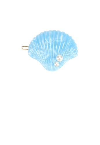 Glamorousky white Simple and Sweet Blue Shell Imitation Pearl Hair Clip 14E48ACC3F46B7GS_1