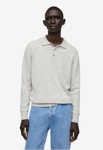 MANGO Man grey Long-Sleeved Wool Knit Polo Shirt B7029AA600C55EGS_1