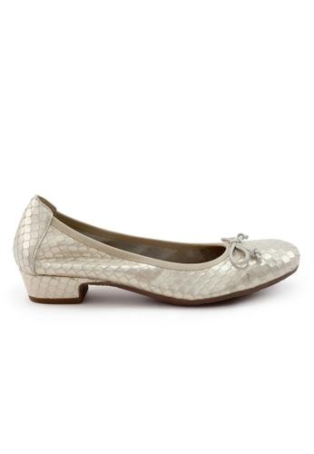 Shu Talk gold Snakeskin calf leather bow round toe heels 911D4SHD43B08FGS_1