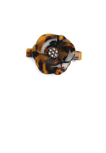 Glamorousky white Fashion and Elegant Dark Tortoiseshell Flower Small Hair Slide with Cubic Zirconia 6650CAC713A361GS_1