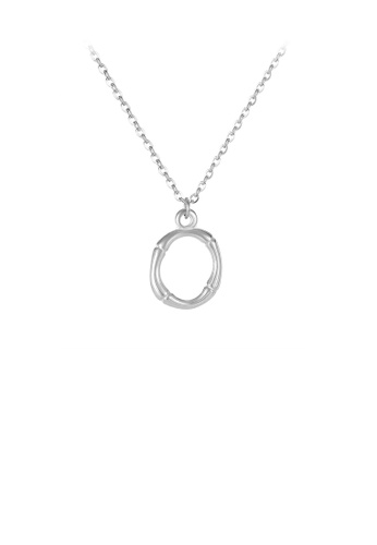 Glamorousky silver Fashion Simple English Alphabet O 316L Stainless Steel Pendant with Necklace 562E5ACE7B2AF0GS_1