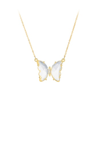 Glamorousky white Fashion and Elegant Plated Gold White Butterfly Cubic Zirconia 316L Stainless Steel Pendant with Necklace C99D4AC72139E3GS_1