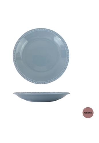 &glazed blue &Glazed Chaste 8-inch medium round plate Cerulean 4B4D5HL6E57617GS_1