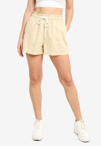 H&M beige Linen Shorts EB06DAA95B9E1AGS_1