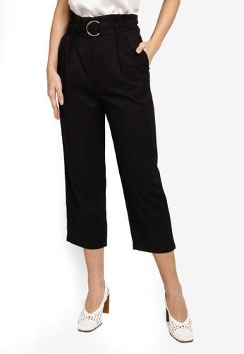 Hopeshow black Paperbag Waist Slim Fit Capri Pants With O-Ring Belt 63ABEAABCD07D3GS_1